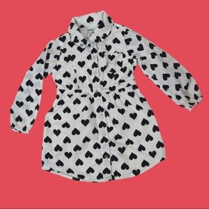 Old Navy Heart Shirt Dress Snap Front Size 3T
